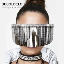 Fashion Rhinestone Oversized Mirror Sunglasses Women Men Luxury Big Frame Mask Diamond Eye Protection Silver Glasses Shade UV400