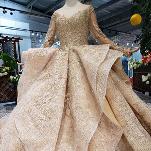 Image 3 - HTL151 golden puffy evening dress tulle o neck long sleeves special puffy skirt women occasion dress court train custom size