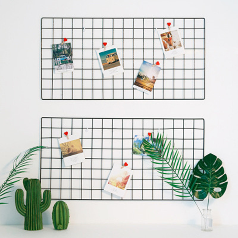 35X35CM Nordic style Home Wall Decor Iron Grid Decor Photo Frame Wall Art Display Mesh Organizer Postcards DIY Rack Holder