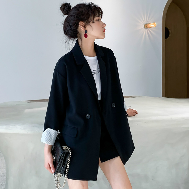 High Quality Black Small Suit 2019 Korean Version Of The Autumn Loose Long-sleeved Ladies Jacket Blazer Casual Office Suit