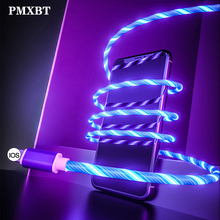 Flowing LED USB Cable Glowing Mobile Phone Charging Cables Micro USB Type C Charge For iPhone X Samsung S8 S9 Charger Wire Cord стоимость