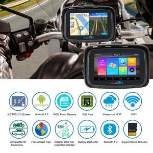 Image 3 - Android 6.0 Fodsports 5 Inch Motorcycle GPS Navigation IPX7 Waterproof Bluetooth Car Moto GPS Navigator 1GRAM+16G Flash Free Map