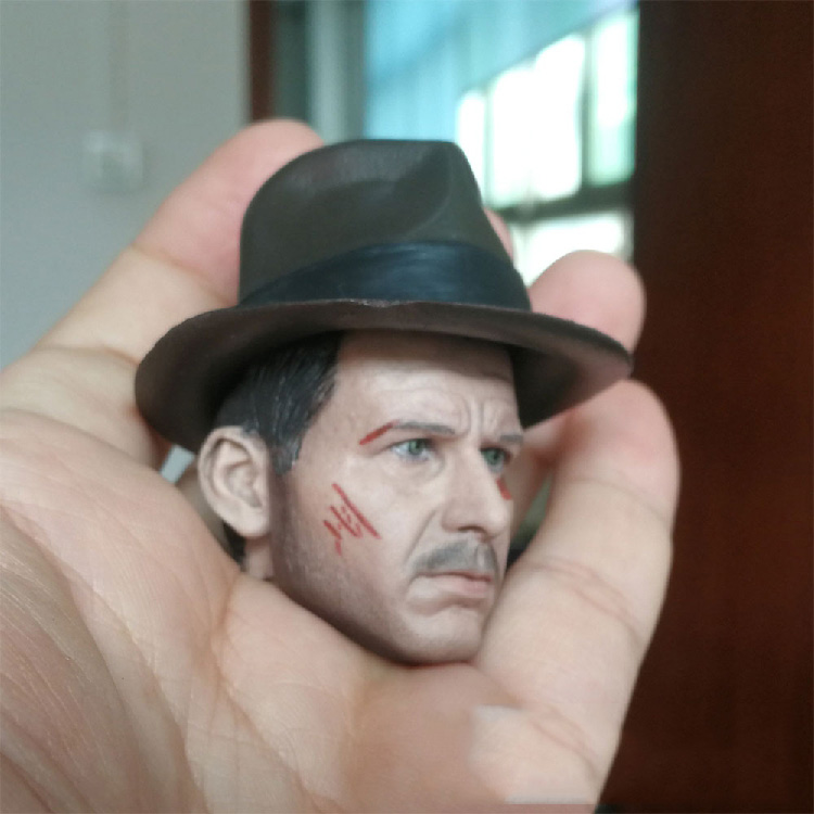 1/6 Scale Indiana Jones Head Carving Western Adventures Harrison Ford Western Cowboys Normal/Damaged Version With Hard Cap Model  For 12'' Action Figure Body