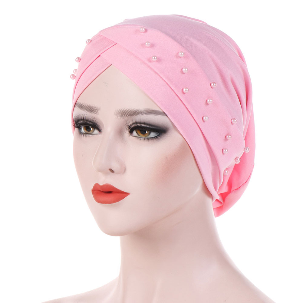 Women Head Wrap Fashion Bead Solid For Cancer Forehead Cross Accessories Stretch Chemotherapy Cap Western Style Muslim Hats