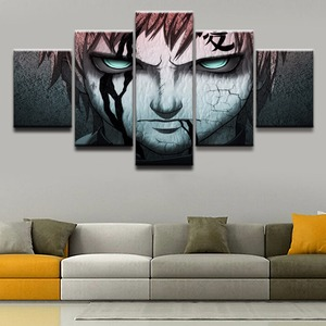 Framework Animation Oil Painting Popula 5 Pieces Wall Art Canvas Painting Naruto Gaara Horror Picture For Living Room Decor(China)