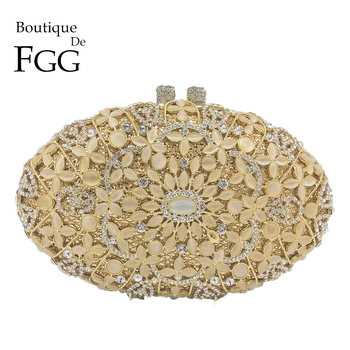 Boutique De FGG Hollow Out Vintage Opal Stones & Crystal Women Flower Evening Bags Hard Case Wedding Clutch Minaudiere Party Bag