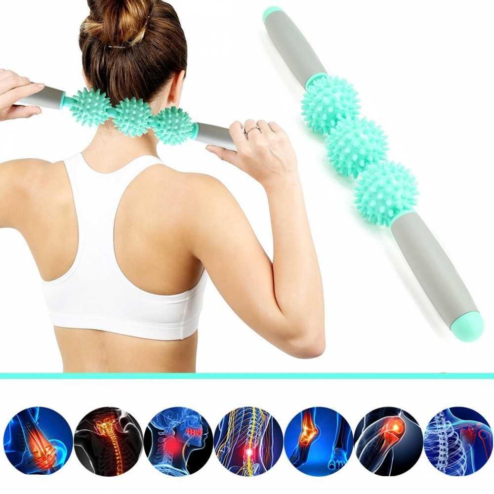 Massage Roller Yoga Stick Neck Muscle Roller Fitness Equipments 3 Point Spiky Balls Gym Body Waist Leg Back Relax Sports Tool