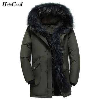 HALACOOD Winter Big Genuine Fur Hood Duck Down Jackets Men Warm High Quality Down Coats Male Casual Winter Outerwer Down Parkas