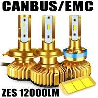 Багажная Canbus LED H4 H7 СВЕТОДИОДНАЯ Лампа H1 H3 HB3 9005 9006 hb4 H8 H9 H11 светодиодные фары 6500K 5000K 12000LM 72W ZES чип светодиодные фары