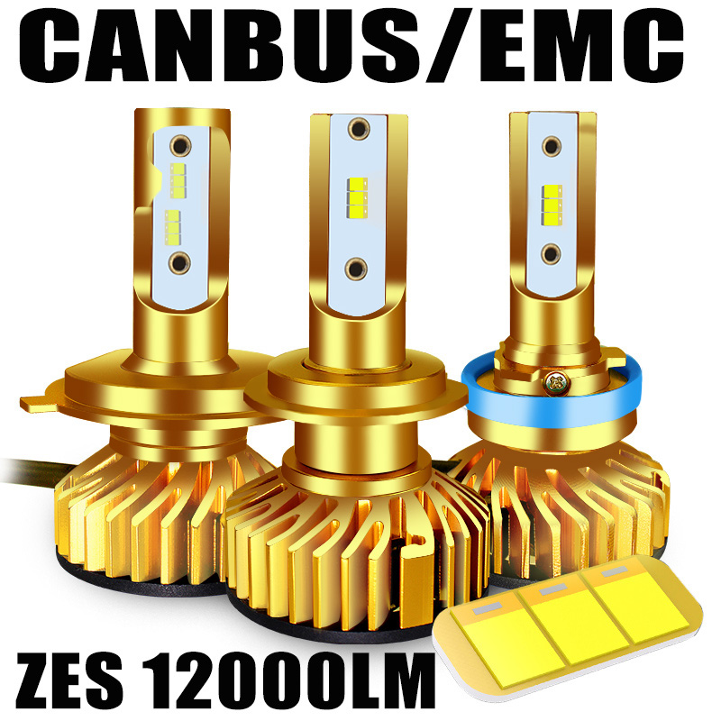 BAGELED Canbus LED H4 H7 LED Lamp H1 H3 HB3 9005 9006 Hb4 H8 H9 H11 LED Headlamp 6500K 5000K  12000LM 72W ZES Chip Led Headlight
