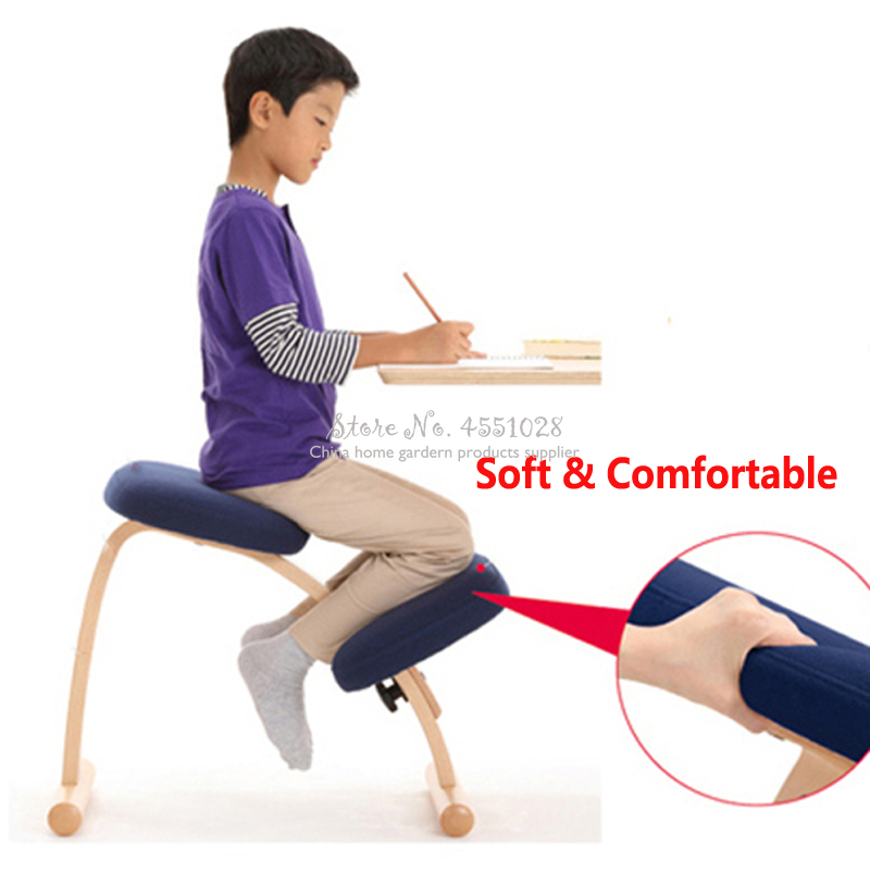 New Wooden Posture Chair With Pole Ergonomic Kneeling Adjustable Posture Stool For Kids & Adults With Thick Comfortable Cushions