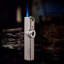 Ультра-Тонкий ретро классический шлифовальный круг надувная газовая зажигалка ветрозащитный металлический распылитель Синий Пламя точка сигары прижигание