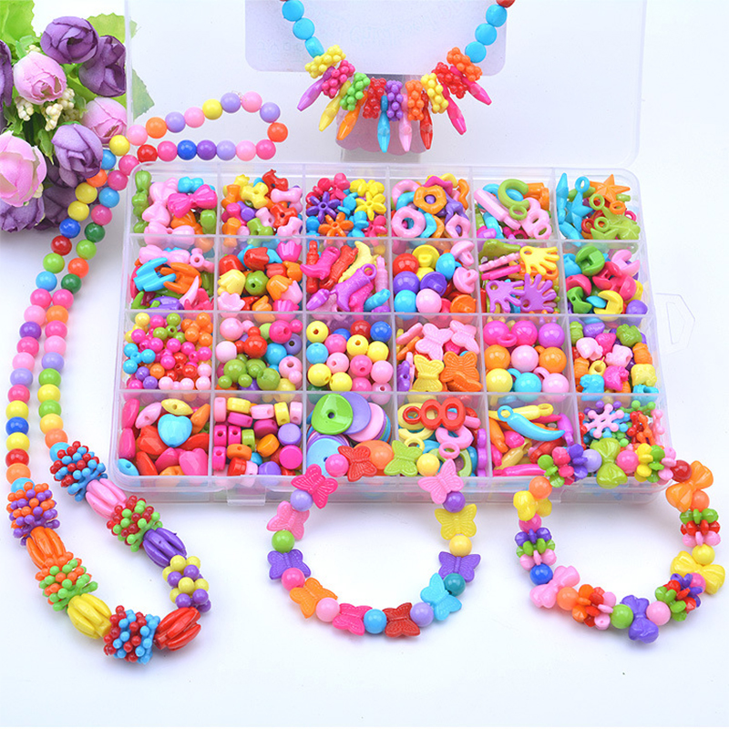 Colorful Diy Bead Bracelet Toy Children Beaded Ring Girl Gift Plastic Beads For Kid Jewelry Making Beads Set Handmade Art Craft
