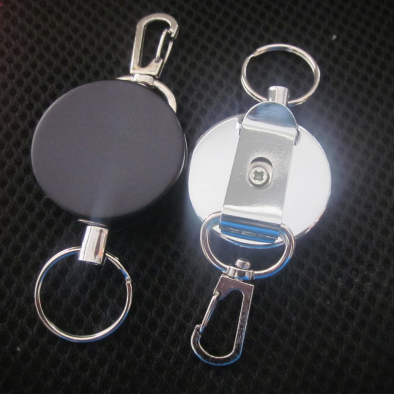 2Pcs Outdoor Camping Supplies Resilience Steel Wire Rope Elastic Keychain Sporty Retractable Key Ring Anti Lost Keychain