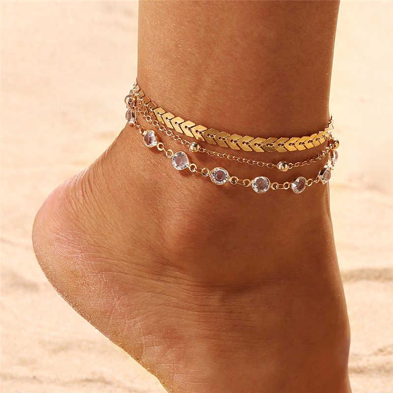 รอบลูกปัด Bohemian สำหรับผู้หญิงอุปกรณ์เสริมทองชั้น Leaf รองเท้าแตะเท้ารองเท้าแตะขาสร้อยข้อมือเครื่องประดับของขวัญ