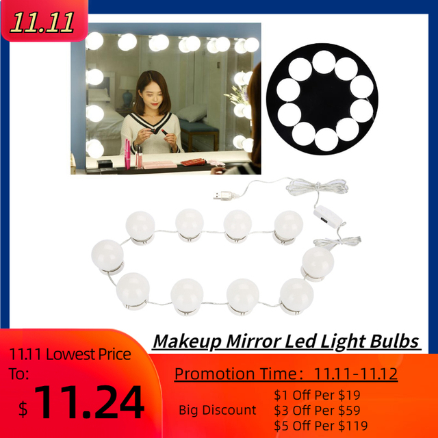 10 Bulbs Makeup Mirror With Led Light Vanity Mirror USB Charging Port Cosmetic Bulb Adjustable Make up Mirrors Brightness lights