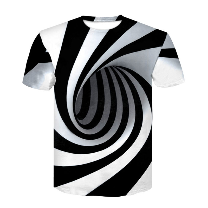 Black And White Vertigo Hypnotic 3D Print Men T Shirt Funny Tshirt Optical Illusion Black-White Graphic O-Neck Women 3D T-Shirt