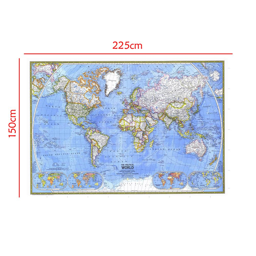 Waterproof Non-woven World Map Without National Flag For Geography Research And Education 150x225cm