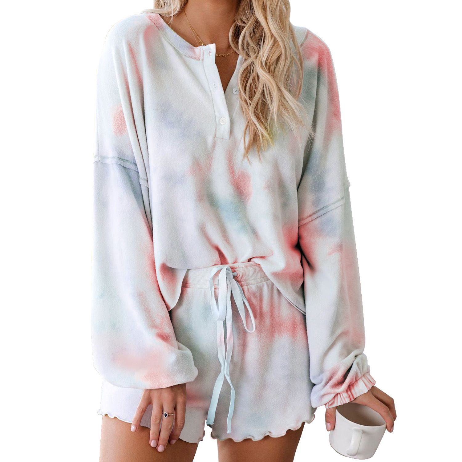 2020 New Women's Sets Summer Tie-Dye Printing Leisure Sports Long Sleeve Top + Shorts Two Piece Sets Female Sweat Suits Clothing
