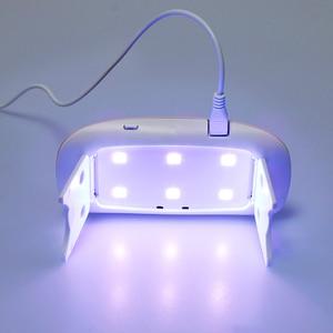 Image 3 - OSHIONER портативный мини 6 Вт Светодиодная лампа для сушки ногтей USB зарядка 30s 60s таймер светодиодный светильник Быстросохнущий гель для ногтей для маникюра