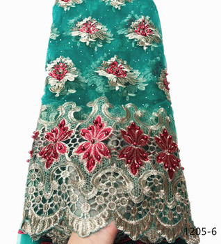HighEnd Nigerian Lace Fabric 2020 High Quality African Lace Fabric Newest French Lace With Bead fabrics For Women Wedding 1205