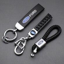 3D металлический Кожаный Автомобильный Брелок для ключей, брелок для автомобиля, модные аксессуары для Ford Fiesta Kuga Fusion Focus Mondeo