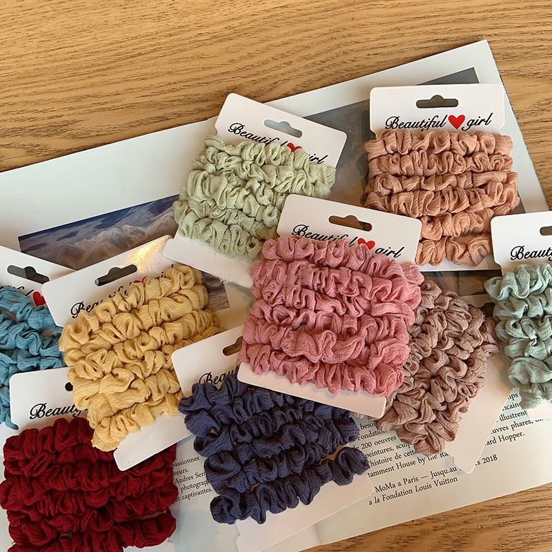 New Skinny Chiffon Hair Scrunchies Set Vintage Solid Fabric Elastic Hair Bands Hair Ties Simple Basic Ponytail For Hair Styling