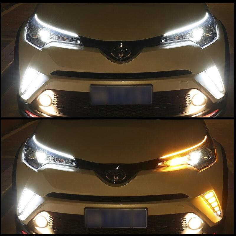 OKEEN 2pcs Waterproof Flexible Universal Car LED DRL Daytime Running Light Flow Runs Headlight LED Strip Brake Turn Signal Light 6