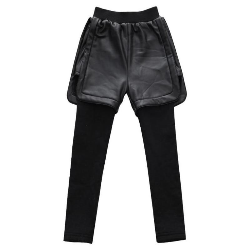 DFXD женские зимние леггинсы 2019 модные черные длинные брюки из искусственной кожи повседневные брюки с эластичным поясом Одежда для девочек ...