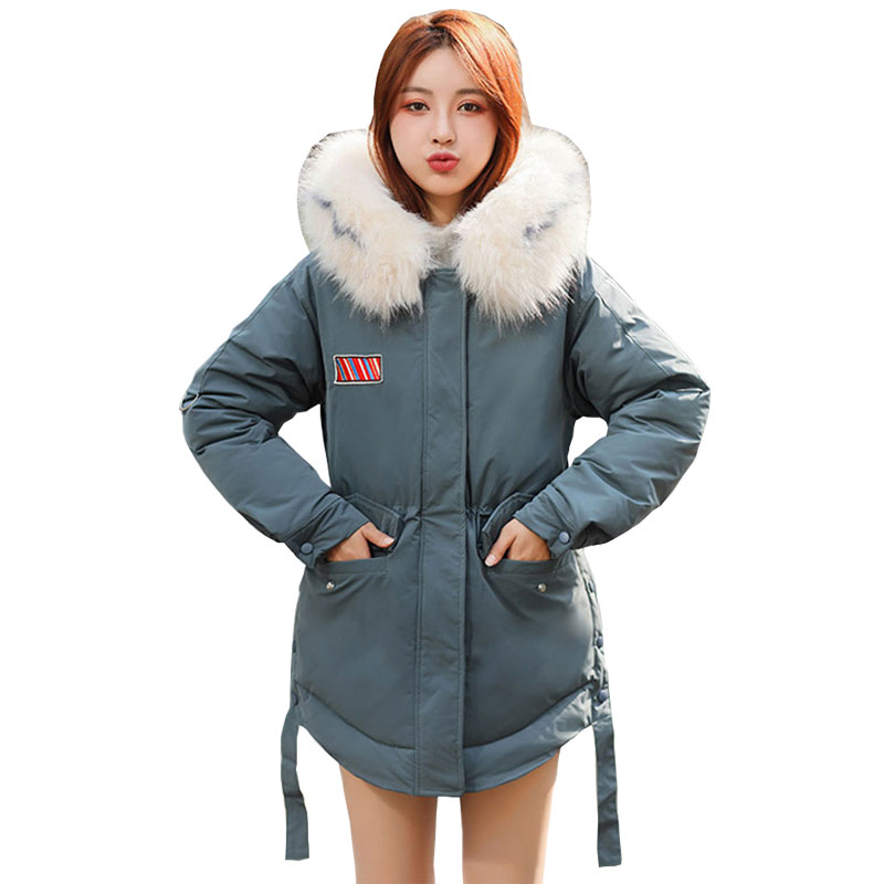 Fur   Coat   Hooded Winter   Down     Coat   Female Jacket Thick Warm Basic Chaqueta Mujer Cotton padded Wadded Parka Outwear 918