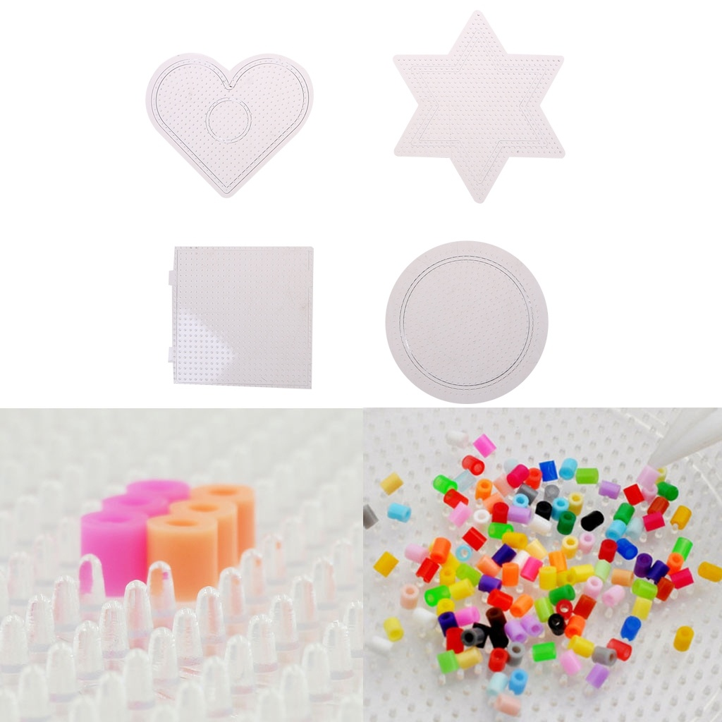 4Pcs/Lot Transparent 3D Puzzle For 2.6mm Hama Beads Pegboards Transparent Plastic For DIY Children Craft Fuse Beads Pegboards