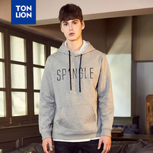 TONLION Simple College Style Sweatshirts Men Classic Gray Sport Pullover for Big Boy Causal Fashion Hoodies Letter Deco 2020 New