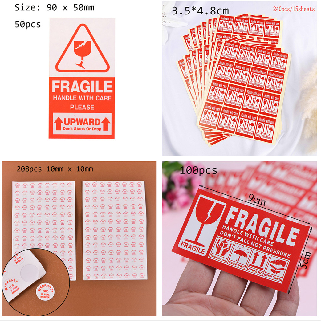 40/50/100/240pcs Fragile Warning Label Sticker Fragile Sticker Up And Handle With Care Keep Dry Shipping Express Label