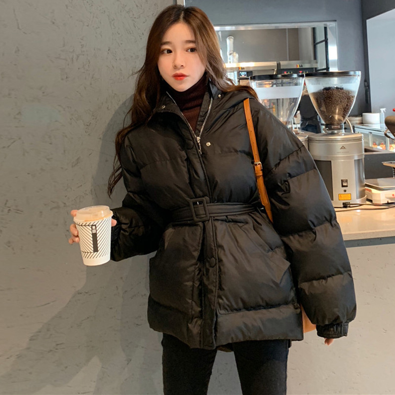 Waist Hugging Slimming Thick Cotton-padded Jacket 2019 Winter WOMEN'S Dress New Style Black And White With Pattern Down Coat Loo