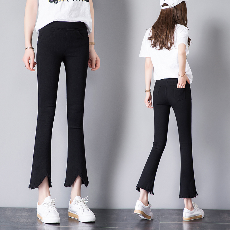 2019 Spring And Autumn Thin With Holes Irregular Flash High-waisted Washing Water Leggings Women's Capri Elasticity Micro Bell-b