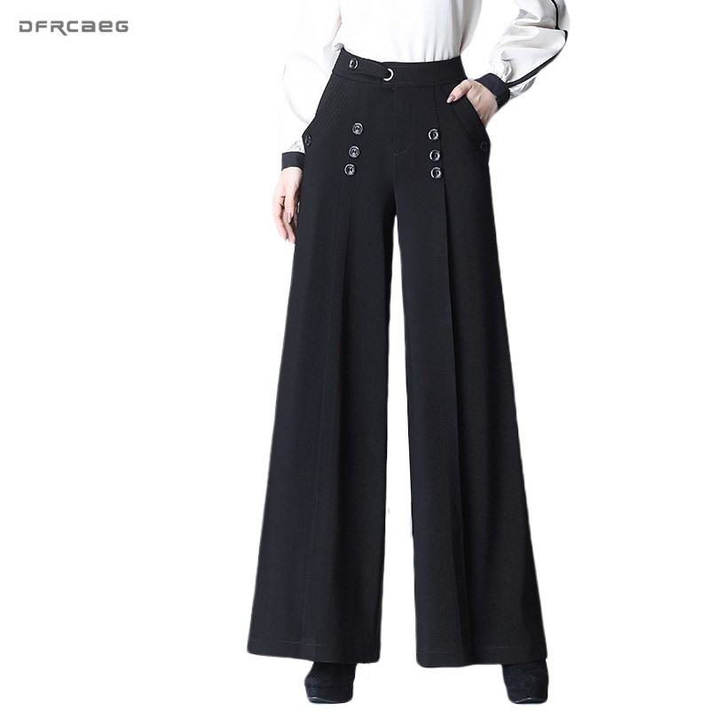 4XL 5XL High Waist Plus Size Wide Leg Pants For Women 2020 Spring Autumn Ladies Loose Straight Trousers Female Black
