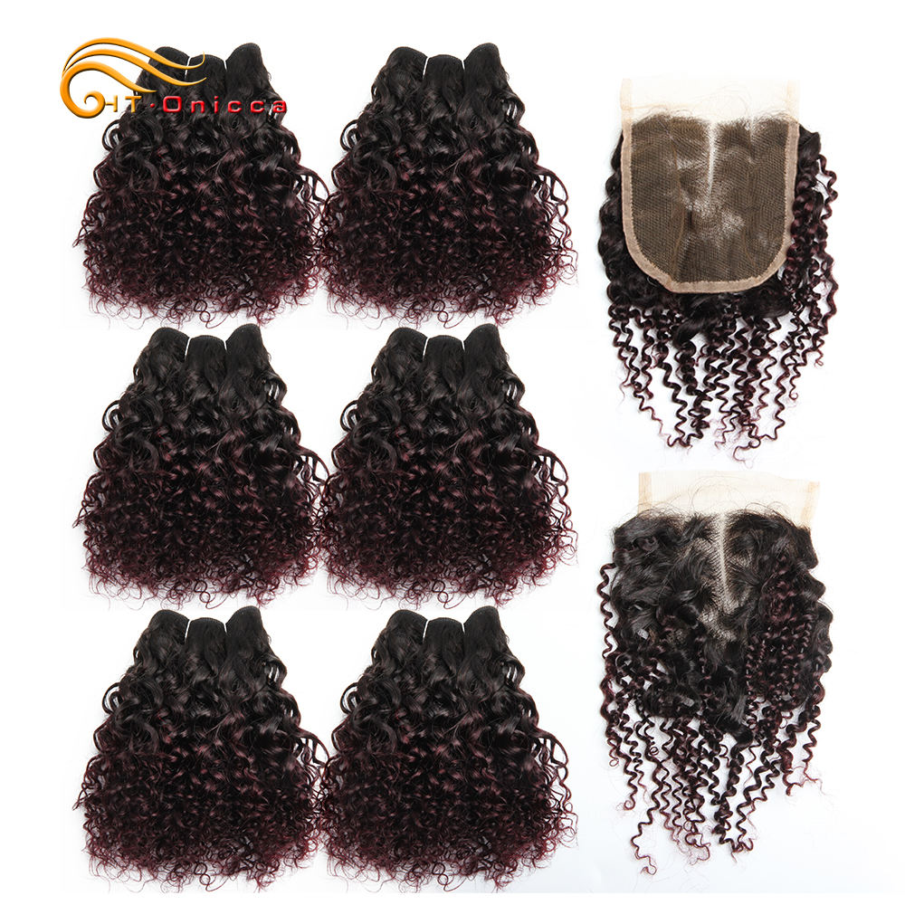 Htonicca Hair Jerry Curl Bundles With Closure Hair Extensions Ombre Bundles With Closure Weaves Human Hair With Closure