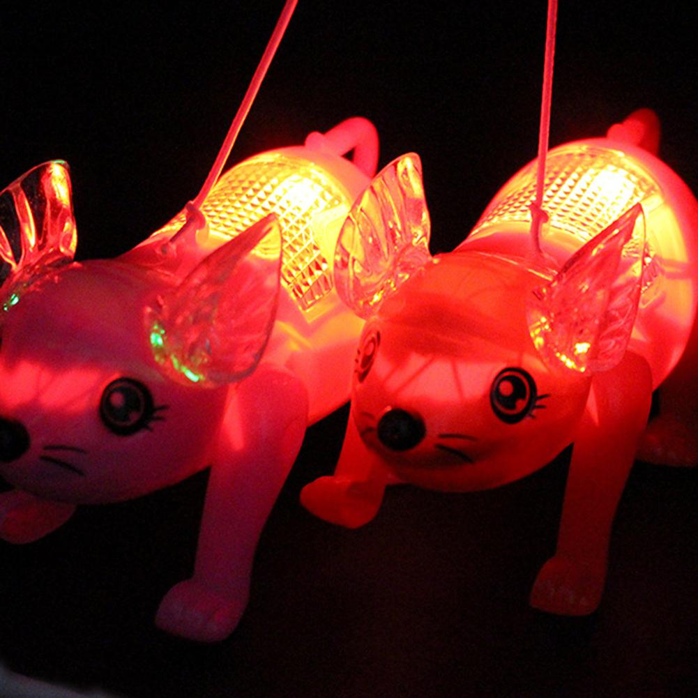 Cute Kids Luminous Electric LED Music Walking Mouse Animal Toy With Leash Interactive Kids Toy Gift