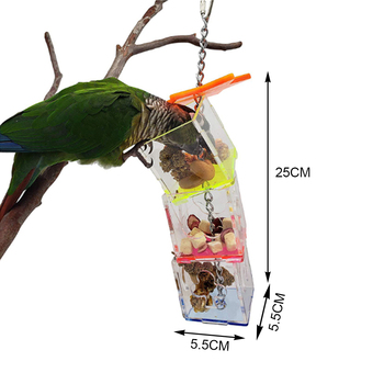 3 Layer Parrot Hanging Chewing Feeding Toy Bird Feeding Transparent Food Feeder Holder Hanging Forage Box Cage Toy 4