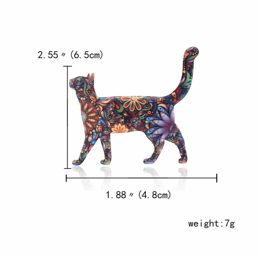 Indah Unisex Kucing Bros Kerah Pin Lencana Enamel Aksesori Hidup Kebanggaan Hewan Bros untuk Pesta Wanita Perhiasan Aksesoris # W3