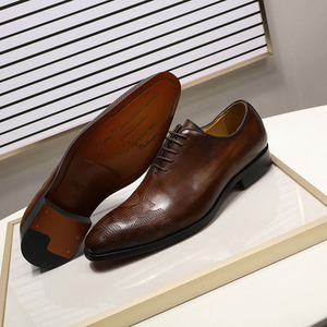 Image 5 - ยี่ห้ออิตาเลี่ยนMens Oxfordรองเท้าผู้ชายรองเท้าหนังทำด้วยมือสีน้ำตาลLACE Upงานแต่งงานอย่างเป็นทางการรองเท้า