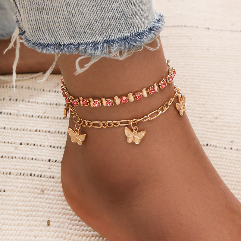 2 Pcs/set Pink Crystal Stone Butterfly Pendant Anklets for Women Geometric Foot Chain Summer Jewelry Gifts
