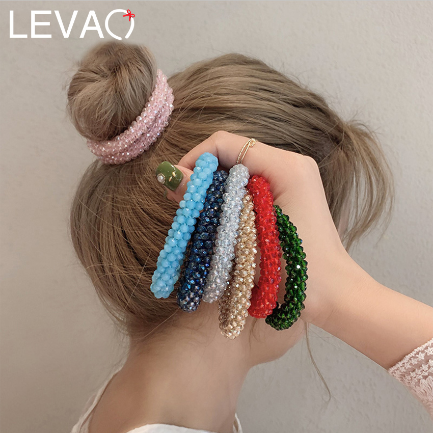 Levao Crystal Beads Hair Rope For Women Ponytail Scrunchies Elastic Hair Bands Beaded Rubber Hairband Hair Accessories