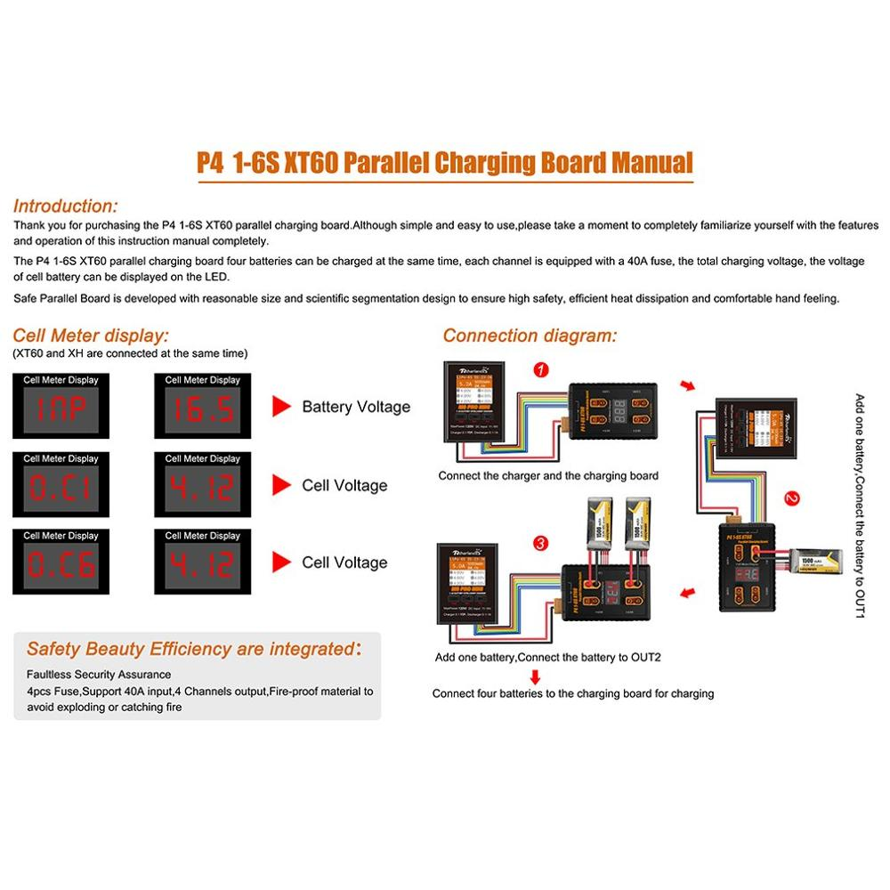 P4 1 6S Safe Parallel Board XT60 Plug Parallel Charging Board for imax B6 B6AC B8 VS ISDT PC 4860 for RC Drone 1 6S LiPo Battery in Battery Accessories Charger Accessories from Consumer Electronics