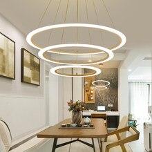 Светодиодная Подвесная лампа с круглыми кольцами, современный комнатный светильник в стиле лофт для гостиной, столовой, кухни, спальни, укр...