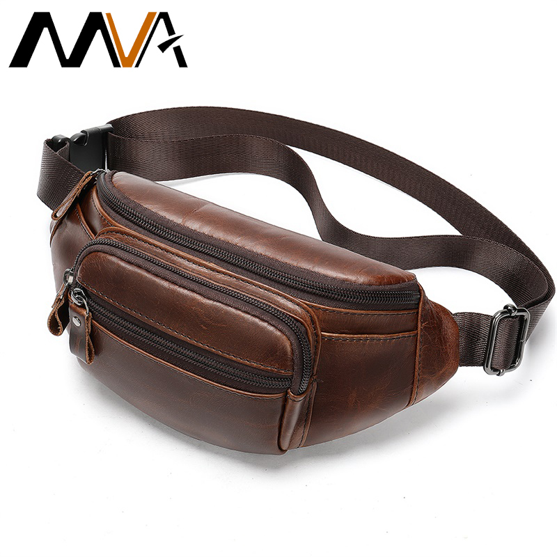 2019 Male Fanny Pack Waist Bag Belt Men Leather Bum/banana Bags Money Belt Pouch Shoulder/crossbody Bags For Men Waist Bags 8591