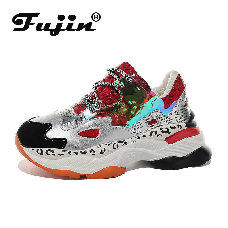 Fujin Sneakers Women Autumn Thick Bottom Dropshipping Fashion Cross Tied Mixed Colors Muffin Bottom Breathable Causal Shoes