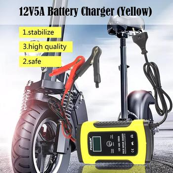 Red Car Battery Charger Automobile Motorcycle Intelligent Pulse Repair 12V 5A LCD Motocycle Battery Charging Device image