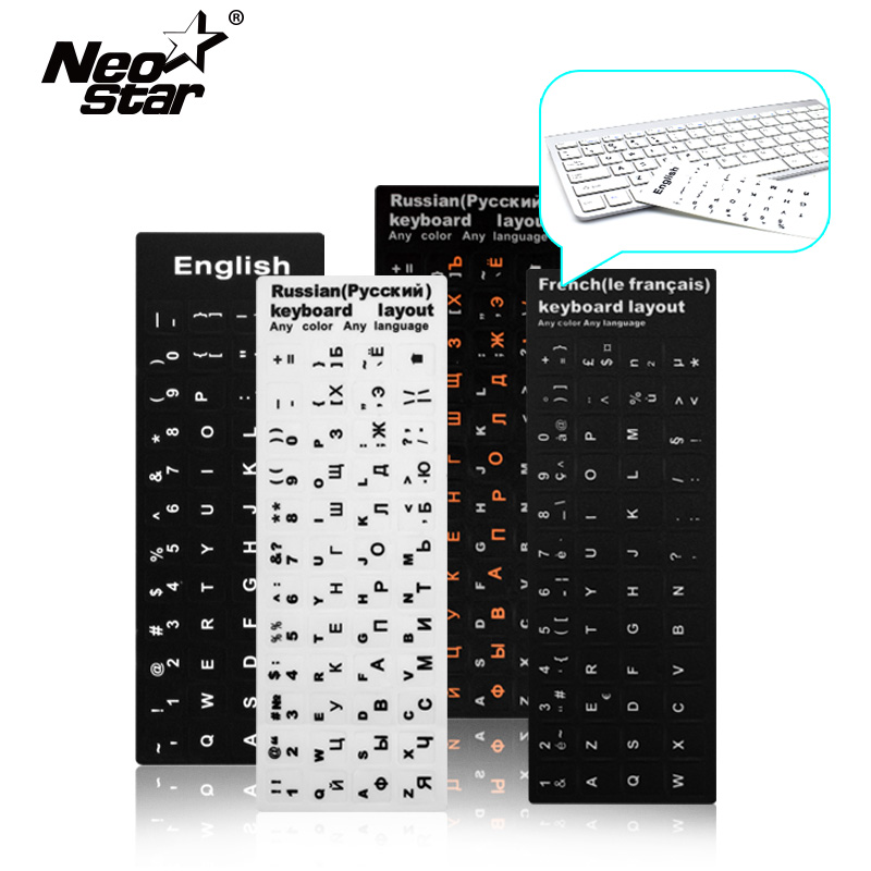 Waterproof Laptop Keyboard Stickers Spanish/English/Russian/French Deutsch/Arabic/Korean/Japanese/Hebrew/Thai Keyboard Layout-in Keyboard Covers from Computer & Office