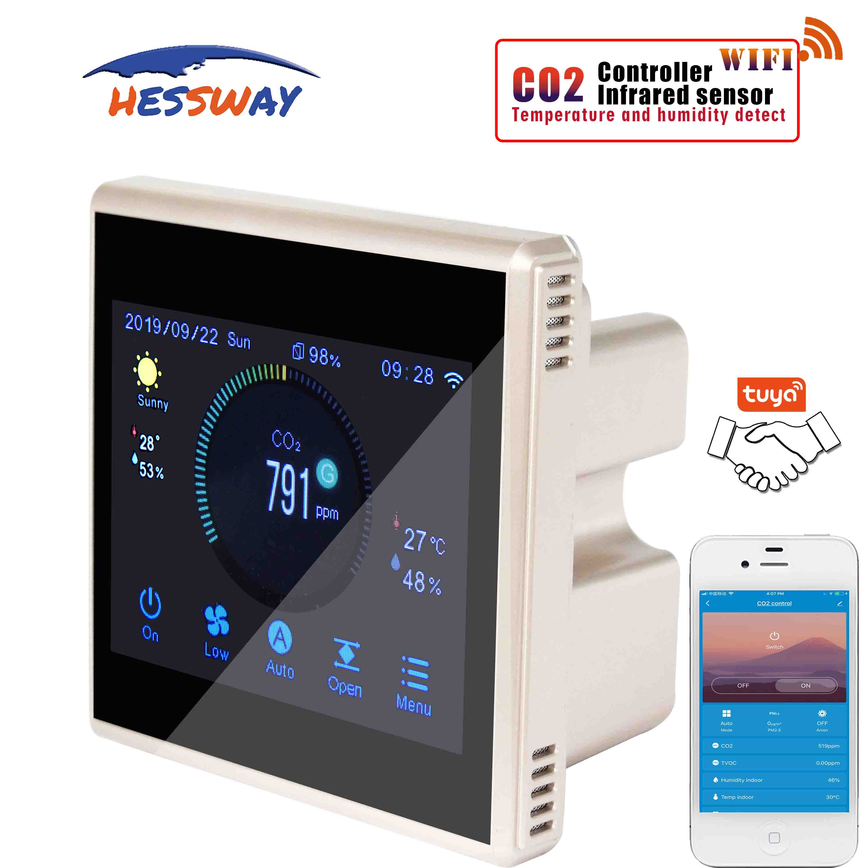 TUYA APP Wifi Color Touch Screen Co2 Monitor Detector For Temperature And Humidity Detection